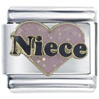 Fashion Glitter Pink Niece Heart Words Enamel 9 Mm Italian Charm