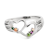 925 Sterling Silver Customized Ring Double Hearts Any Birthstones Letters Rg 7