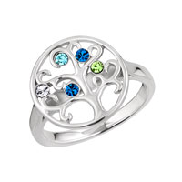 925 Sterling Silver 5 Colorful Mother S Day Custom Birthstone Family Tree Ring Size 8