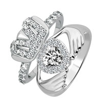 925 Sterling Silver Custom Clear Crystal Cz Claddagh Engagement 2 Pcs Ring Set Size 8
