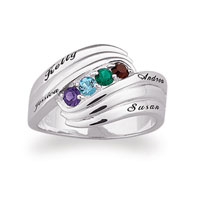 Sterling Silver Family Birthstone Swirl Ring 2 6 Stones Names Size 12