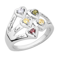 Engraved Heart Family Birthstone Ring 2 6 Stones And Names In Sterling Silver Size 8