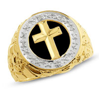 Fashion Men S Onyx Cross Ring In 925 Sterling Silver With Diamond Accents Size 13