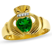 Men S Lab Created Emerald Claddagh Ring In 925 Sterling Silver Gold Plated With Diamond Accents Size 11