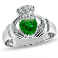 Men S Lab Created Emerald Claddagh Ring In 925 Sterling Silver With Diamond Accents Size 13