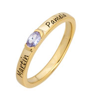 925 Sterling Silver Gold Plated Stackable Birthstone Band 1 Stone And 2 Lines Size 8 Ring