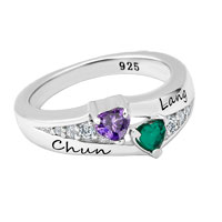 925 Sterling Silver Birthstone And Cubic Zirconia Couple S Sweetheart Ring 2 Stones And Names Size 8