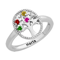 Tree Of Life Rings 925 Sterling Silver Birthstone Family Tree Ring Size 6