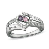 Couple S Birthstone Love Heart Ring With Cz Accents Xmas Gifts Size 6