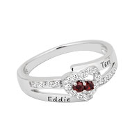 Couple S Birthstone Love Heart Ring With Cz Accents Xmas Gifts Size 8