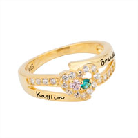 Couple S Birthstone Love Heart Ring With Cz Accents 10 K Gold Plate Size 8
