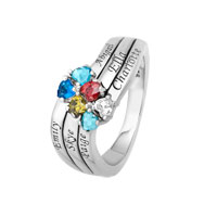 Sterling Silver Heart And Name Family Birthstone Ring 2 6 Names And Stones 7