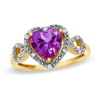 80 Mm Heart Shaped Lab Created Alexandrite And Diamond Accent Heart Frame Ring In 10 K Gold Plated 9