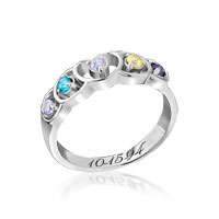 5 Stone Sterling Silver Heart Mother S Ring With Custom Birthstones Rg 8