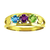 Family Mother S Simulated Birthstone Ring In 10 K Gold Plated 2 6 Stones 6