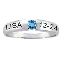 Engravable Stackable Simulated Birthstone Band In Sterling Silver 1 Stone And 2 Names 13 Ring