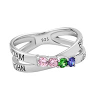 Mother S Engravable Simulated Birthstone Ring In Sterling Silver 2 6 Stones And Names 8