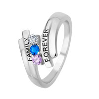 Mother S Engravable Simulated Birthstone Ring In Sterling Silver 2 6 Stones And Names 6