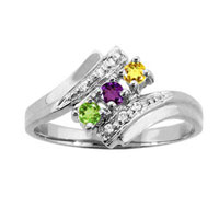 Mother S Simulated Birthstone Ring With Diamond Accents In Sterling Silver 1 6 Stones 7
