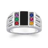 Dad S Onyx And Simulated Austrian Crystal Birthstone Family Ring In Sterling Silver 2 6 Names And Stones 12