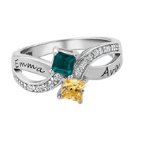 10 K White Or Yellow Gold Plated Birthstone And Cubic Zirconia Duality Ring By Art Carved 2 Names And Stones 7