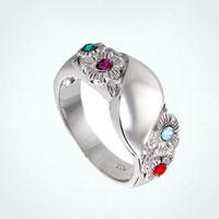 Custom 4 Stone Flowers 925 Sterling Silver Initial Birthstone Ring Rg 8