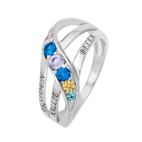 Personalized Birthstone Journey Family Ring In 10 K Gold Plated 2 6 Names And Stones 8