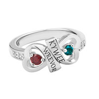 Couple S Double Heart Birthstone And Diamond Accent Ring In 10 K Yellow Or White Gold Plated 2 Names And Stones 5