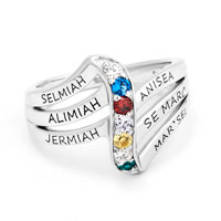 Personalized Birthstone Journey Family Ring In 10 K Gold Plated 2 6 Stones 7
