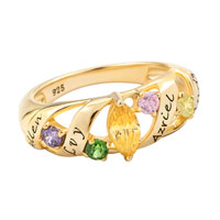 14 K White Or Yellow Gold Plated Birthstone Ava Family Ring By Artcarved 4 Names And 5 Stones 7