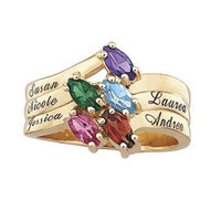 Mom Mother Personalized Family Marquise Birthstone Ring 10 K Gold Plate Size 8