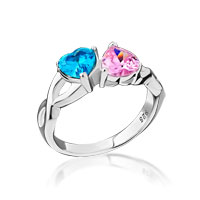 925 Sterling Silver Close To The Heart 2 Hearts Birthstone Infinity Ring Rg 7