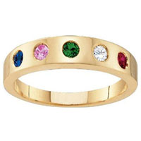 Mom Mother Ring Birthstone Band In 10 K Yellow Gold Plated2 6 Stones Size 8