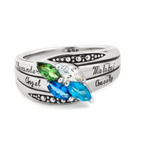 Mother S Mom Personalized Marquise Birthstone Ring In 925 Sterling Silver 2 6 Stones And Names Size 8