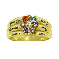 Mothers Simulated Birthstone Flower Ring In 925 Sterling Silver With Gold Plated 2 6 Names And Stones Size 7