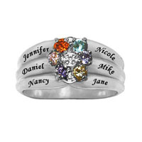 Mom Mothers Simulated Birthstone Flower Ring In 925 Sterling Silver 2 6 Names And Stones Size 9