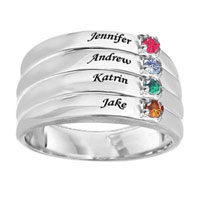 Mothers Simulated Birthstone Stack Look Family Ring In 925 Sterling Silver 2 4 Names And Stones Size 8