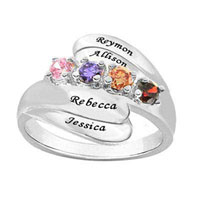 Mothers Personalized Birthstone Family Bypass Ring In 925 Sterling Silver 2 4 Names And Stones Size 10