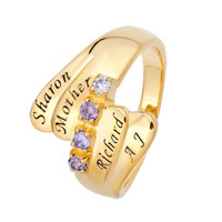 Mothers Personalized Birthstone Bypass Ring In 925 Sterling Silver With Gold Plated 2 4 Names And Stones Size 10