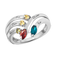 Mothers Personalized Birthstone Customized Family Ring In 925 Sterling Silver 5 Names And Stones Size 8