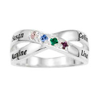Infinity Family Simulated Birthstone Crossover Ring In 925 Sterling Silver 4 Names And Stones Size 5