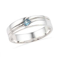 Men S Aquamarine Birthstone Ring Wedding Band In 925 Sterling Silver Size 10