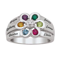 Mother S Simulated Birthstone And Diamond Accent Flower Ring In 925 Sterling Silver 2 6 Names And Stones Size 8