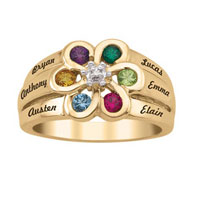 Mother S Birthstone And Diamond Accent Flower Ring 925 Sterling Silver With 18 K Gold Plated 2 6 Names And Stones Size 8