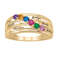Mother S Simulated Birthstone Family Ring In 925 Sterling Silver With Gold Plated2 6 Names And Stones Size 8