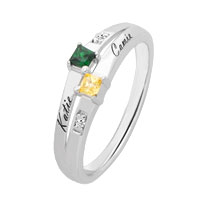 Couple S Princess Cut Personalized Birthstone Ring In 925 Sterling Silver 2 Names And Stones Size 10