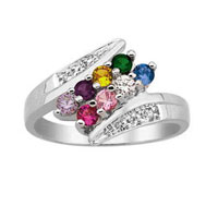Mother S Mom Personalized Birthstone And Diamond Accent Bypass Family Ring In 925 Sterling Silver 2 8 Stones Size 8