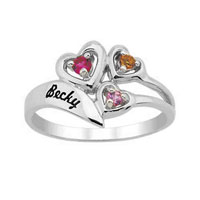 Daughter S Birthstone Heart Ring 925 Sterling Silver Ring 3 Stones1 Name Size 7