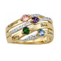 Personalized Family 10 K Gold Plated Cubic Zirconia Windswept Ring Size 12