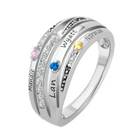 Sterling Silver Simulated Birthstone And Cubic Zirconia Windswept Ring Size 8